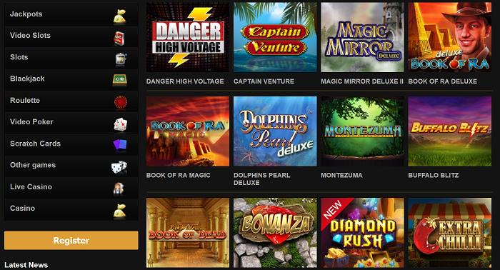 Klicka här för att spela olika typer av casinospel hos Videoslots!