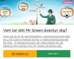 Börja betta och vinn oddsjackpott hos Mr Green!