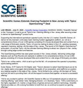 Tipico i New Jersey får spel från Scientific Games!